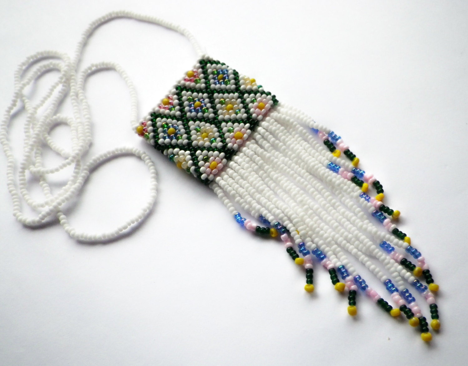 Spring Flowers- Vintage Bead Woven- Amulet Bag- Tapestry Bag- Necklace- Gift for Her - CassieVision