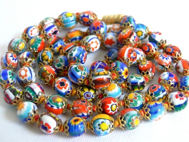 Vintage Venetian Millefiori Glass Bead Necklace Colorful Art
