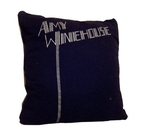 Amy Winehouse recycled t-shirt throw pillow