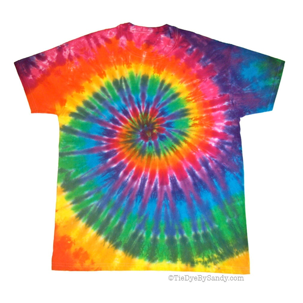 Classic rainbow spiral tie dye shirt by tiedyebysandy on etsy for Custom tie dye t shirts
