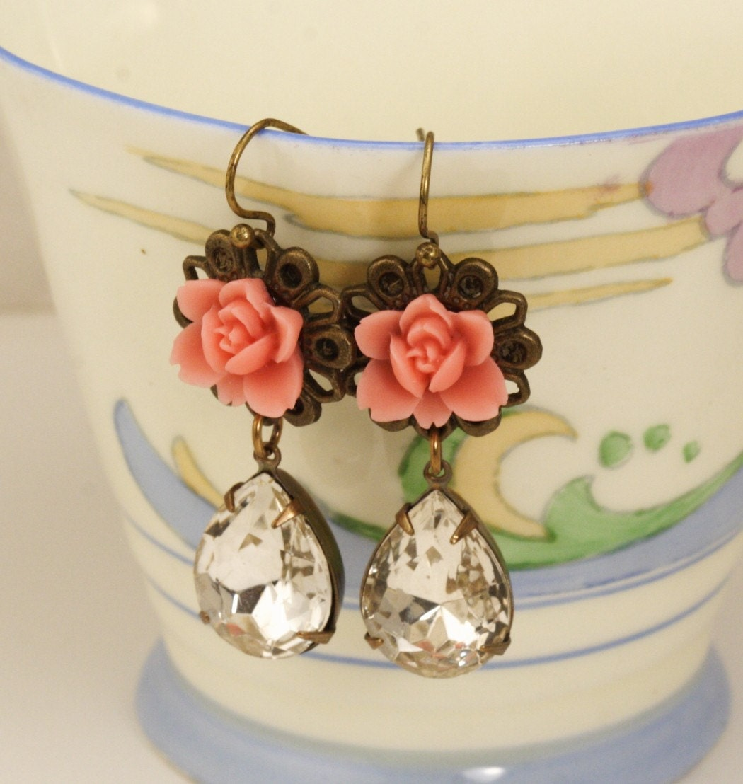Etsy Free Shipping - Coral Pink Flower and Vintage Jewel Earrings
