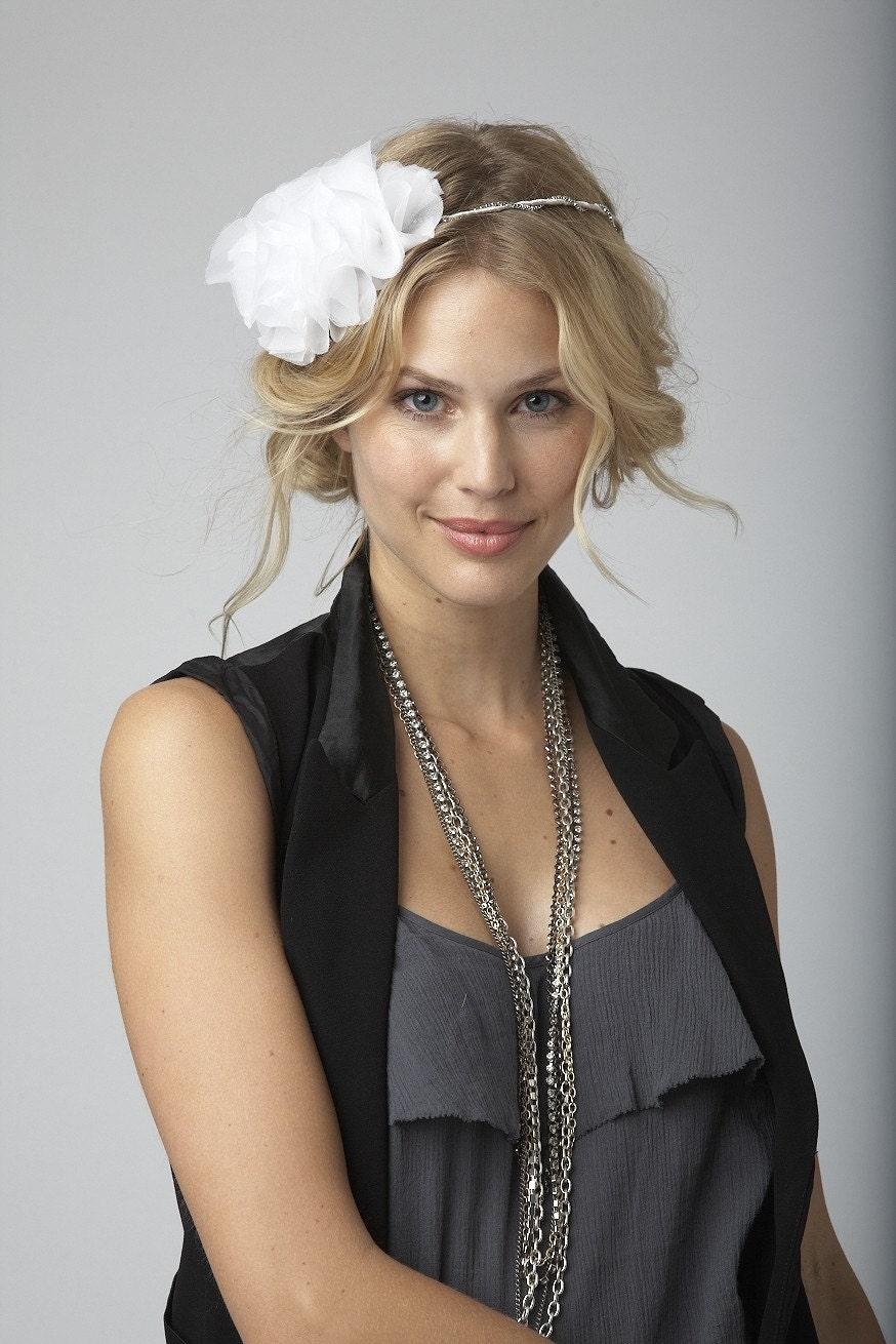 Remi - Chiffon flower halo or headband with rhinestone trim