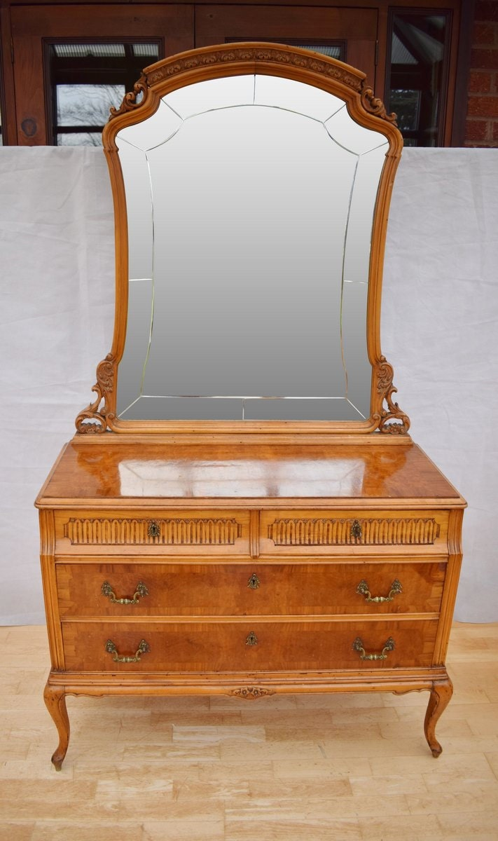 Antique French Art Deco Figured Walnut Four Drawer Dressing Chest and Mirror