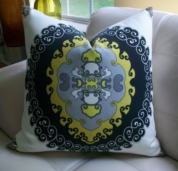 NEW DECORATIVE DESIGNER PILLOW COVER - 22X22 - TRINA TURK - SUPER PARADISE PRINT IN DRIFTWOOD