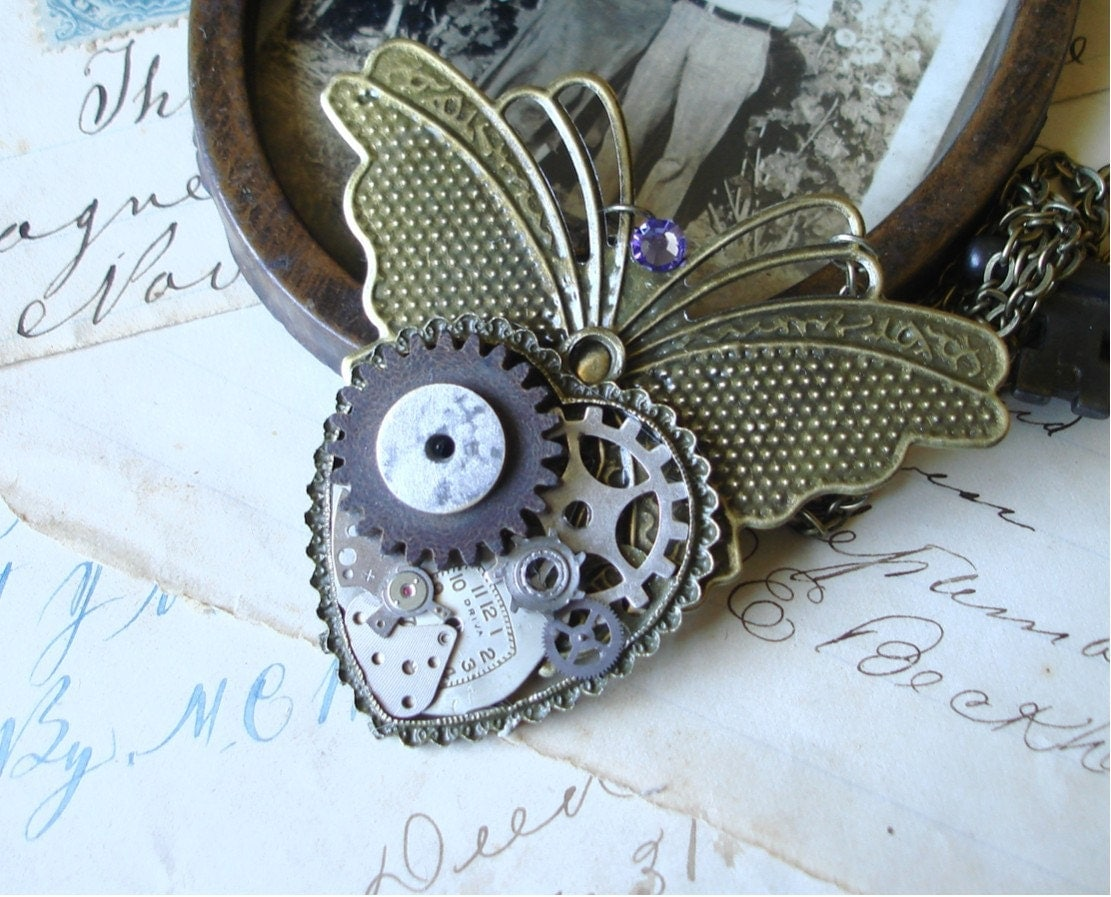 At the Butterfly Ball - Steampunk Butterfly Necklace   C cd/211