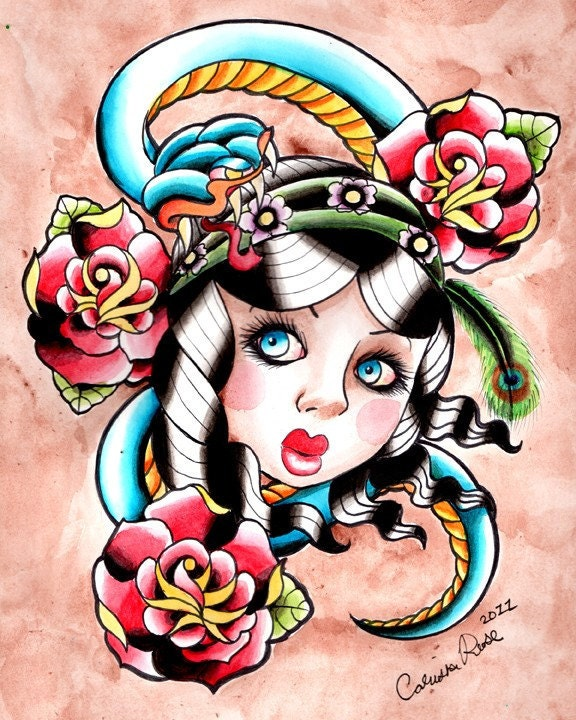 Gypsy Snake Traditional Tattoo Flash Inspired Painting Art Print By Carissa