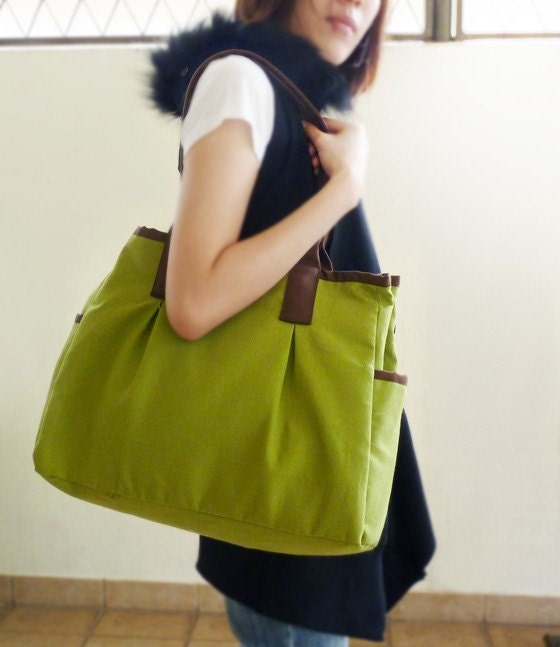 New color- Green and Brown Canvas Tote -044