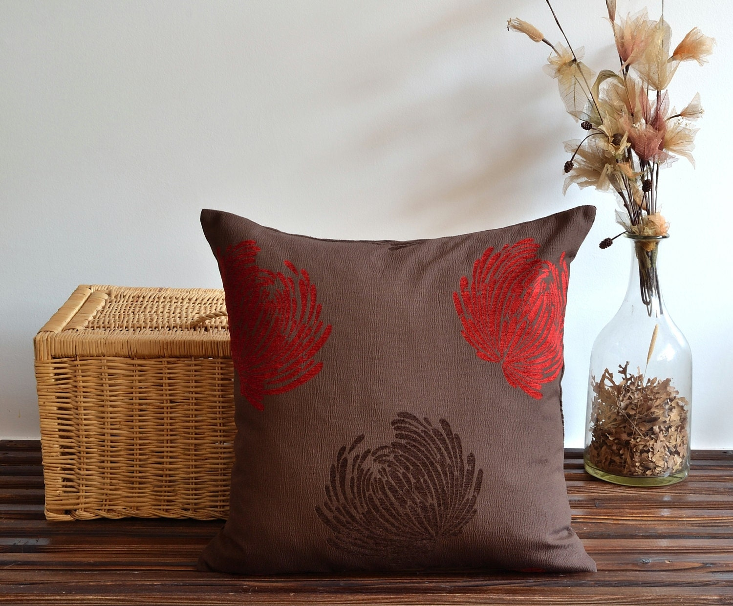 red and brown floral pillow cover 20x20 pillows by pillowme. Black Bedroom Furniture Sets. Home Design Ideas
