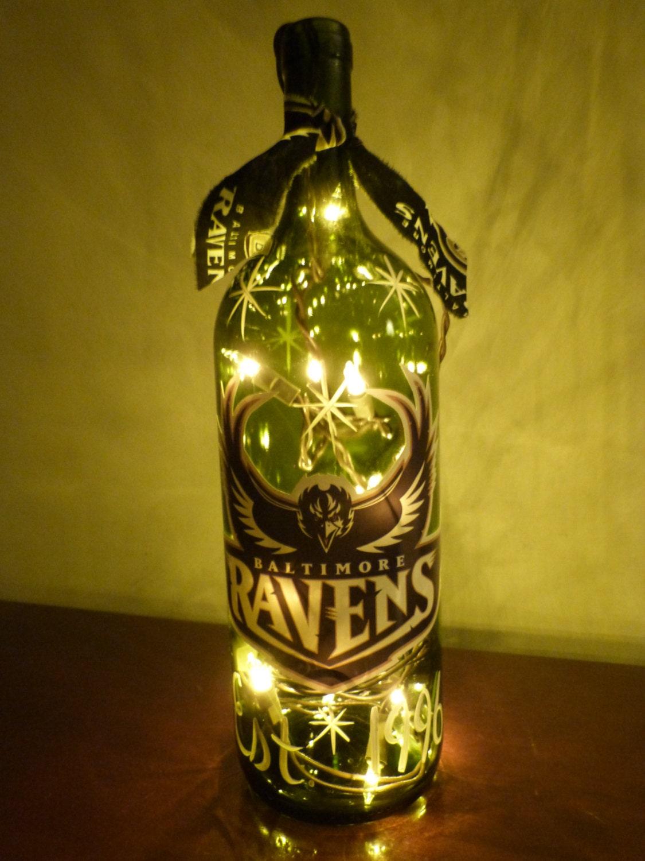 Baltimore ravens lighted wine bottles by sharonspaintedwoods for Light up wine bottles