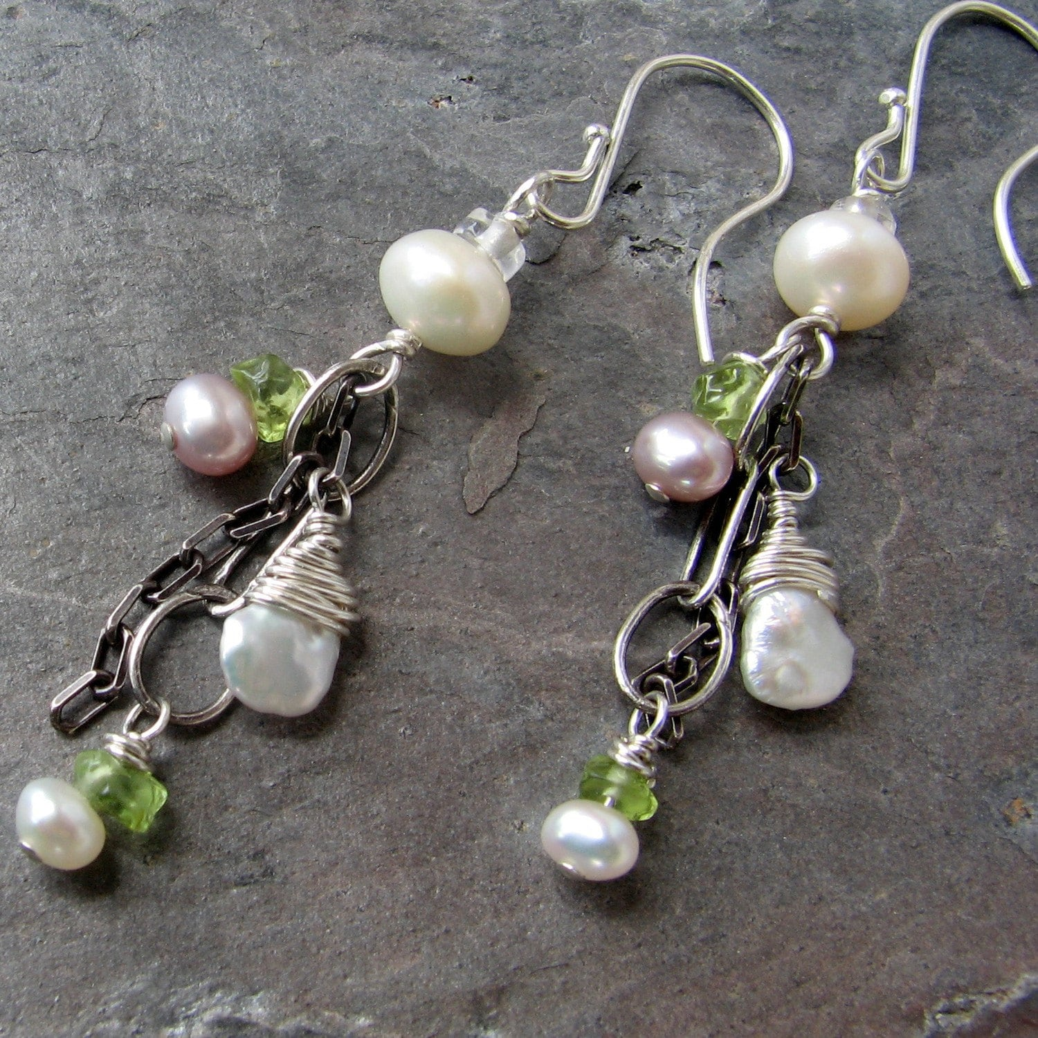 Lacey Pearls sterling earrings