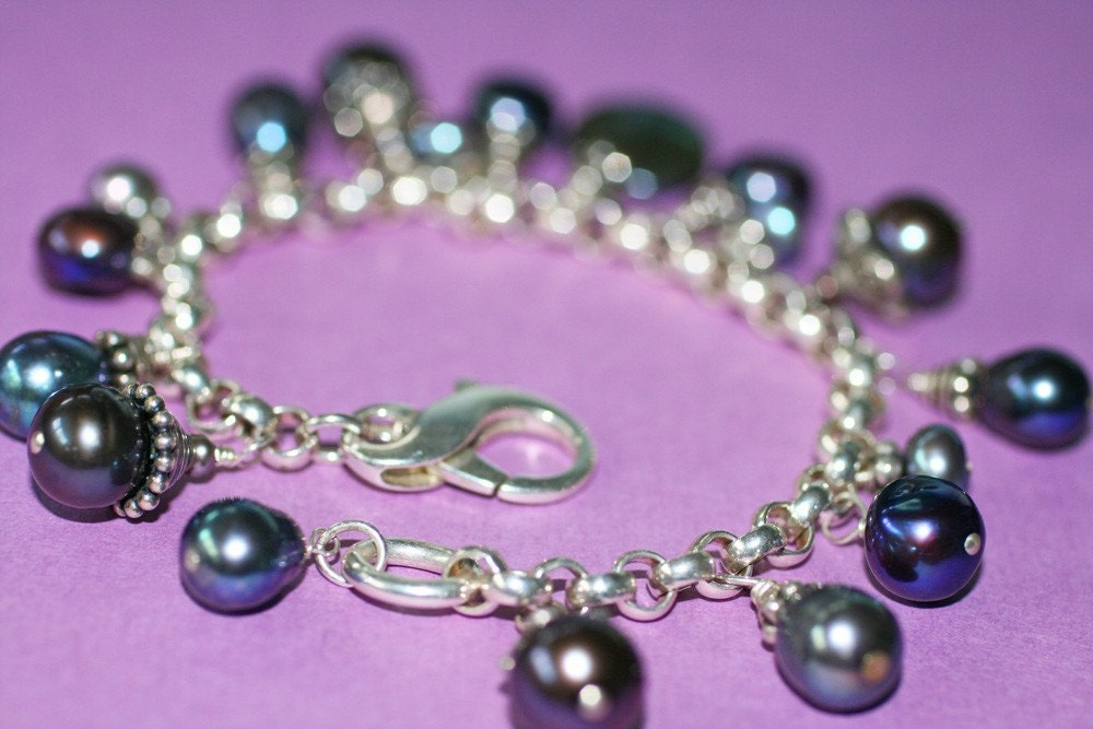 Purple Freshwater Pearl Charm Bracelet