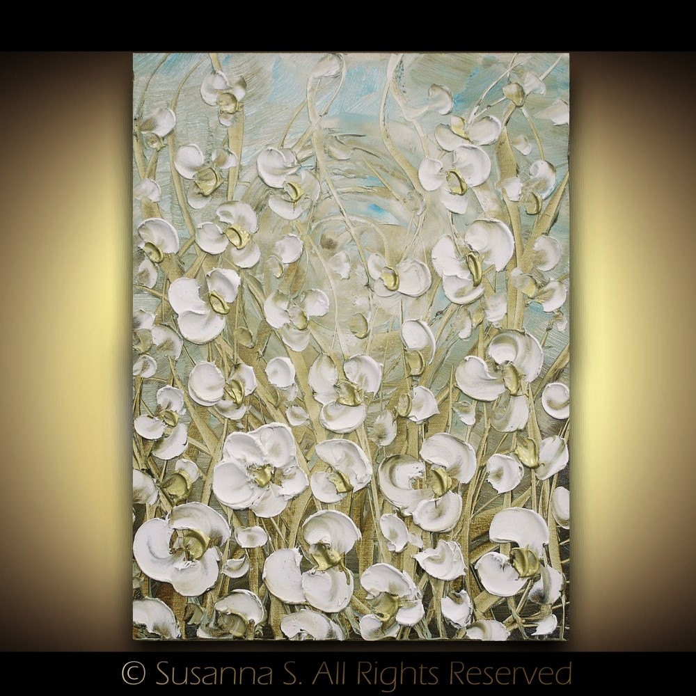 White Flowers Abstract Modern Palette Knife Impasto Oil Painting Natural Cream Contemporary Floral Fine Art by Susanna 18x24