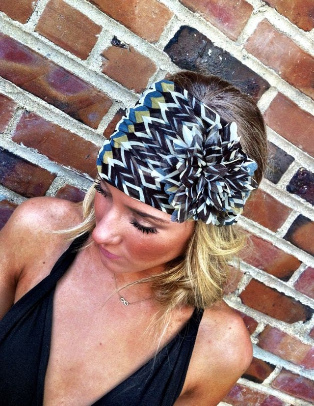 Teal Headband Scarf with Flower Women's Wide Hair Band Urban Turban Head Wrap
