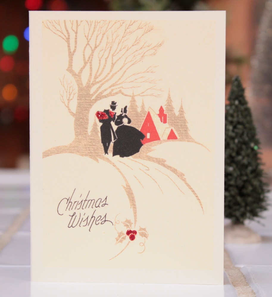 Christmas Card with Victorian Couple Strolling in the Snow