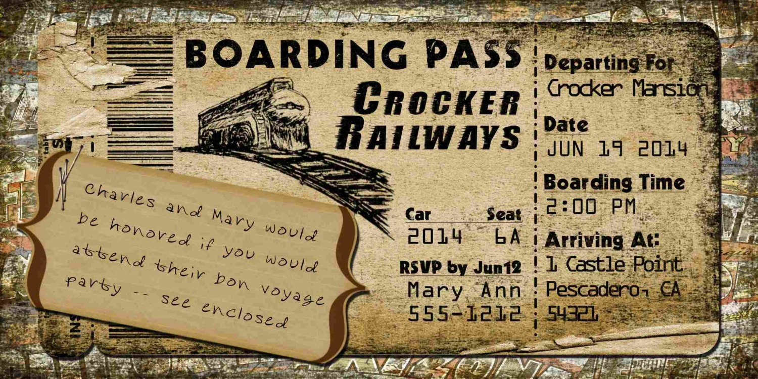 Boarding Pass Invitation Template - Save the date ticket template