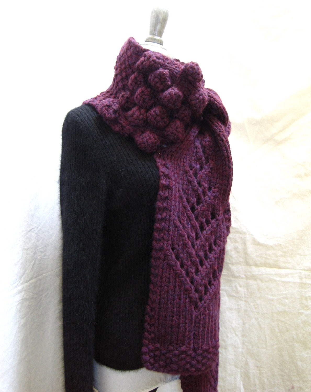 Knitting Pattern For Long Scarf : Hand Knit Scarf PATTERN PDF File for Extra Long by lavishcraft