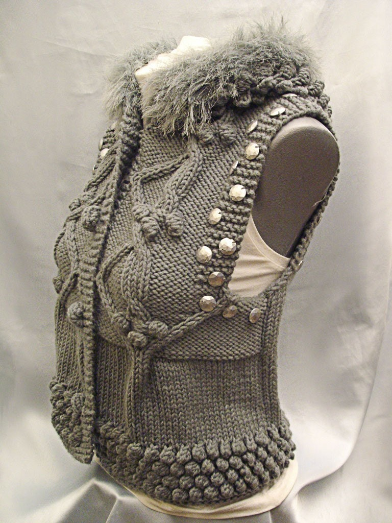 GORGEOUS GREY WAISTCOAT WITH HOOD