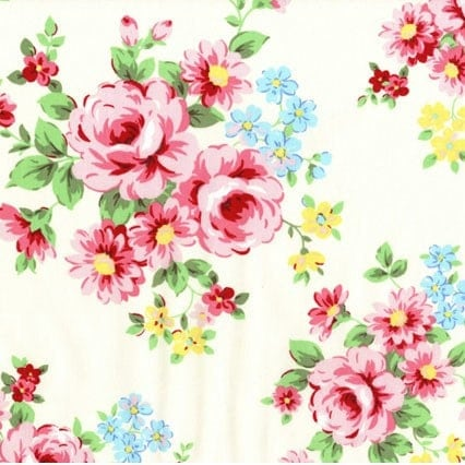 1m Lecien Japanese White Floral Fabric