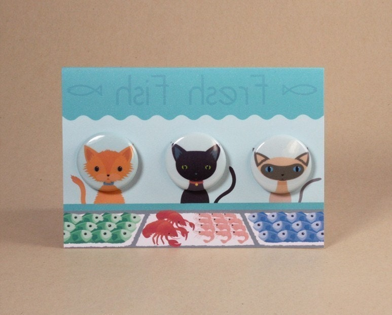Fish Shop Window Gift Card featuring Cat Badges