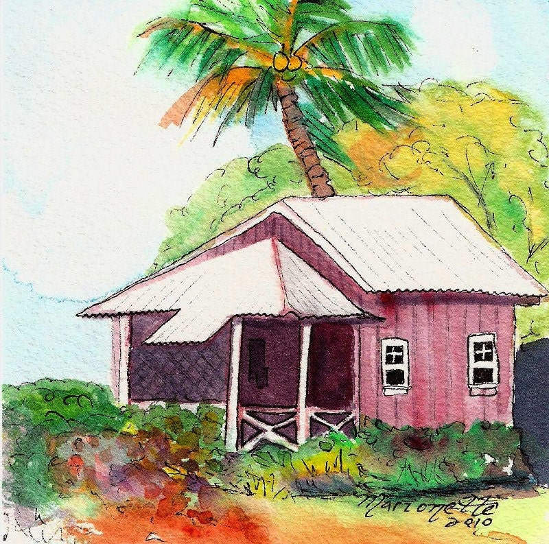 Tropical Red Cottage Original Watercolor Painting By