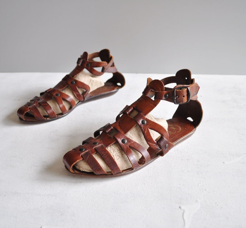 Vintage COFFEE Leather Gladiator Sandals by MariesVintage