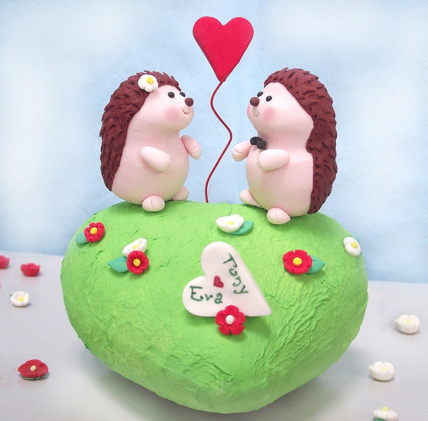 Unique Hedgehog wedding cake topper