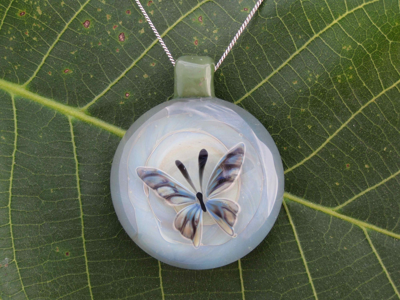 Neenu Butterfly - Handmade Linh Le Glass Pendant Necklace Borosilicate Boro Lampwork - LinhLeArtGlass