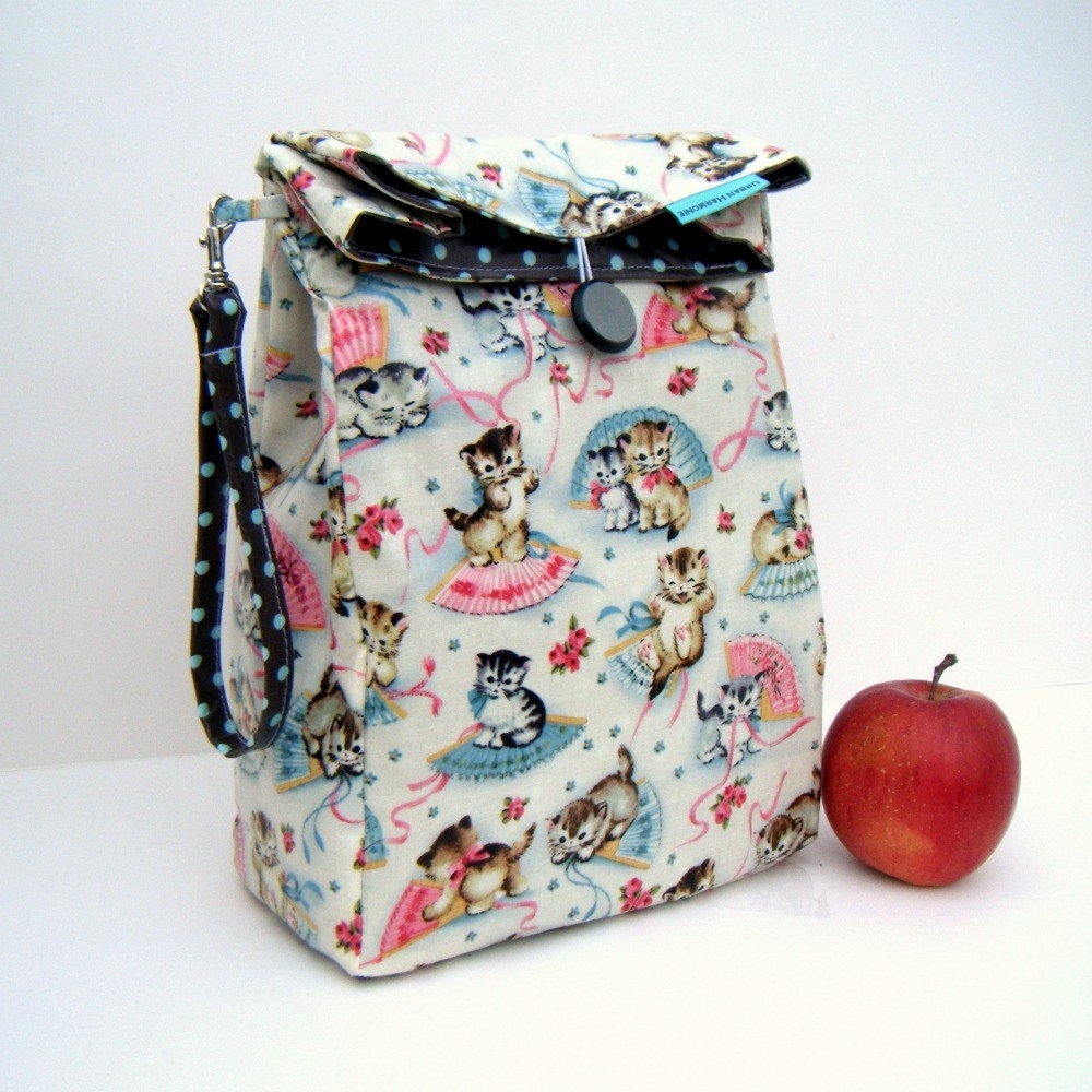 Reversible Kittens Lunch Bag with Handle