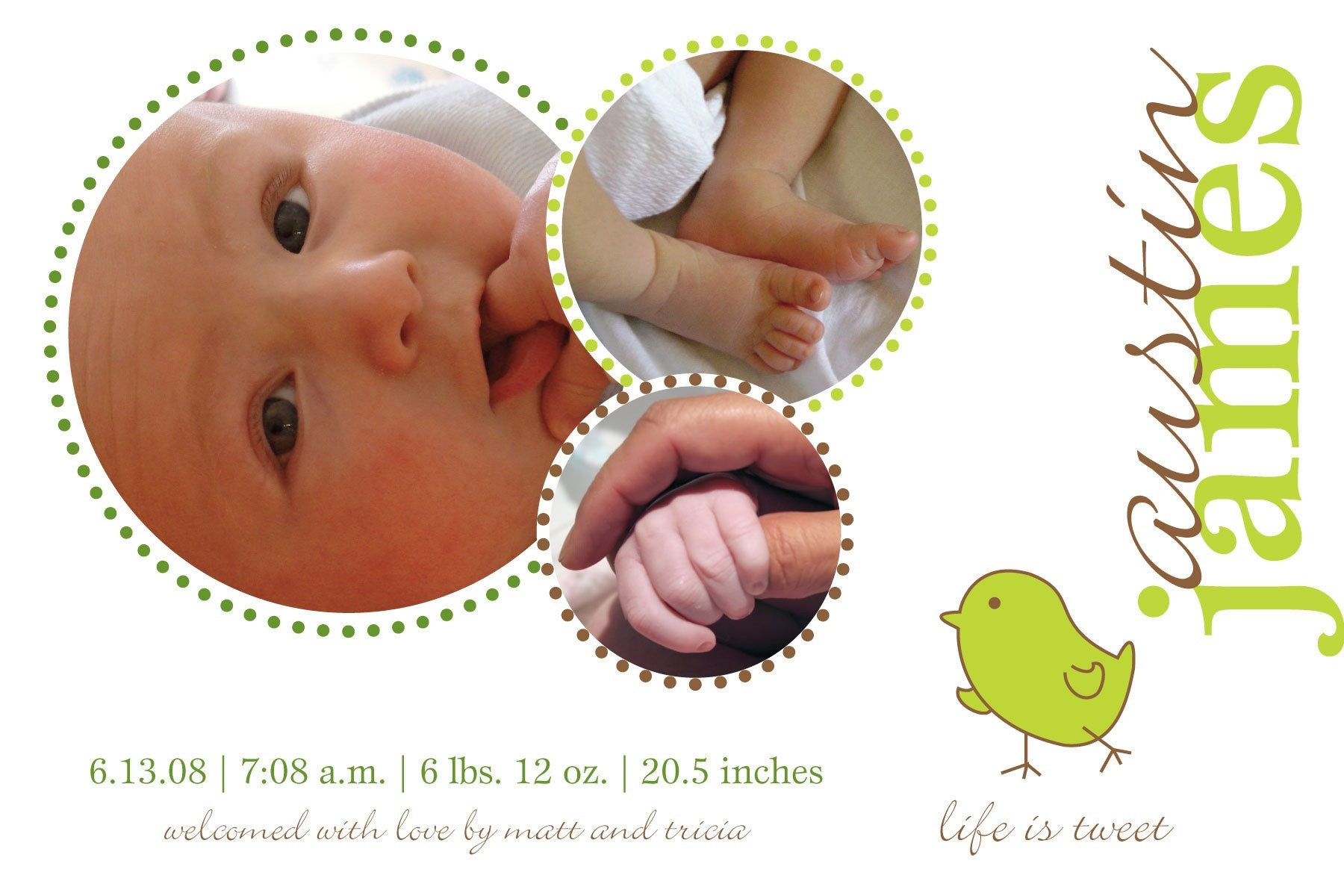 Life is Tweet - Custom Photo Birth Announcement