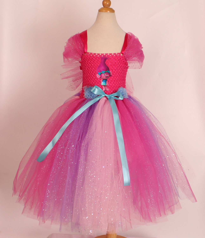 Princess Poppy Costume. Trolls Tutu Dress. Poppy Inspired Handmade Dress. Pink Trolls Dress. Poppy Tutu Dress. Fully Lined Top  Poppy Hair