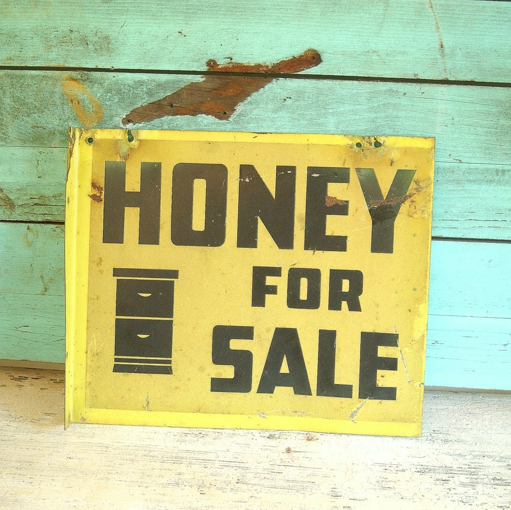 Vintage 1930s Metal HONEY FOR SALE Advertising Sign Yellow Beehive Honey Bees
