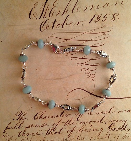 Boho Amazonite and silver link bracelet delicate Bohemian style