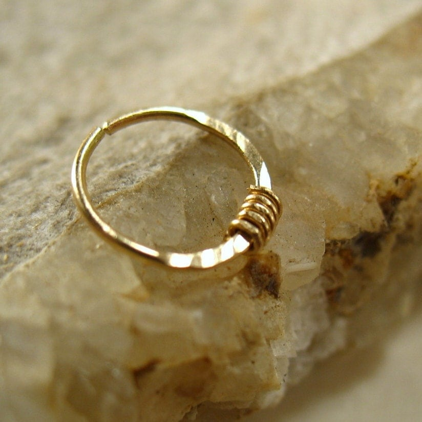 nose rings solid 14k gold with gold wrap by