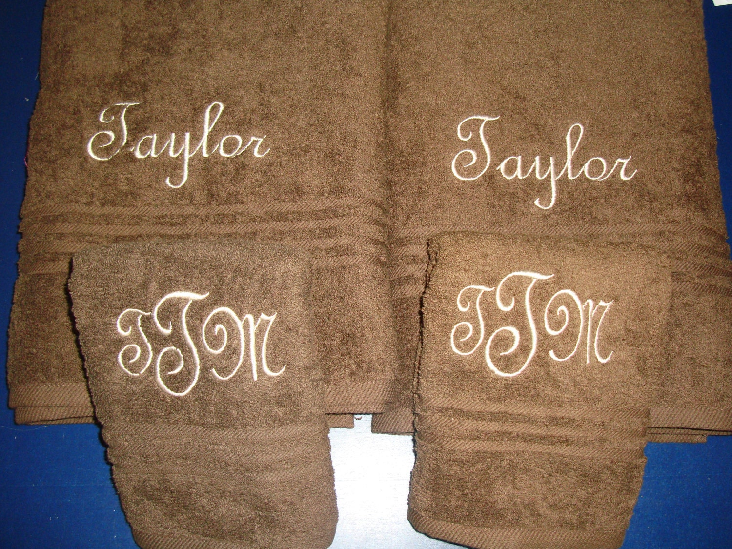 Monogrammed Personalized 2 Bath Towels And 2 Hand By Kutekiddo