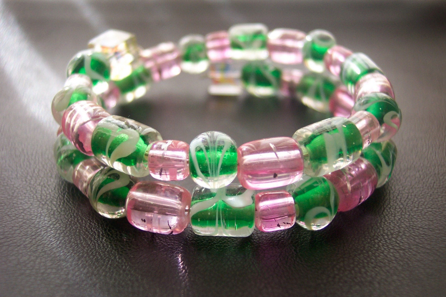 Wire Wrapped Bracelet - In Pinks and Greens