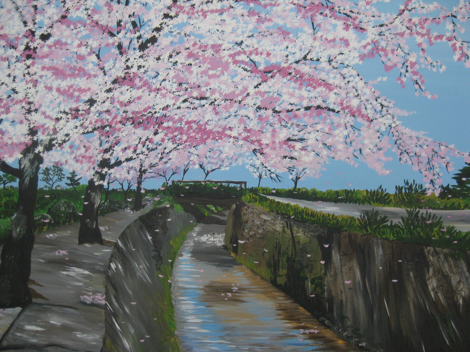 of a Cherry Blossom Painting - Japanese landscape blossoms from Japan ... Japanese Cherry Blossom Landscape Painting