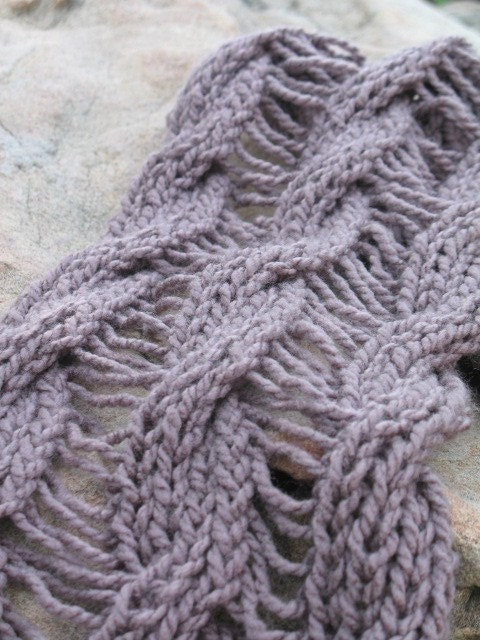 Knitting Patterns Reversible Scarves : Reversible cable knit scarf pattern PDF KNITTING by sansmerci