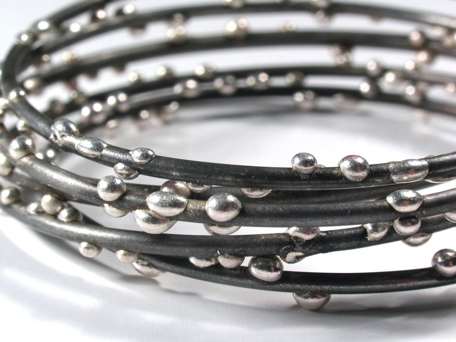 Etsy :: Fine Silver on Steel Bracelets Set of 3 from etsy.com