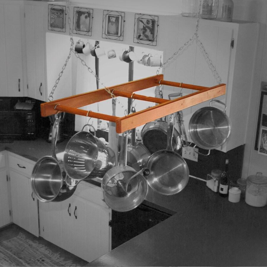 Hanging pot rack reclaimed redwood by hoochbobble on etsy for Reclaimed wood pot rack