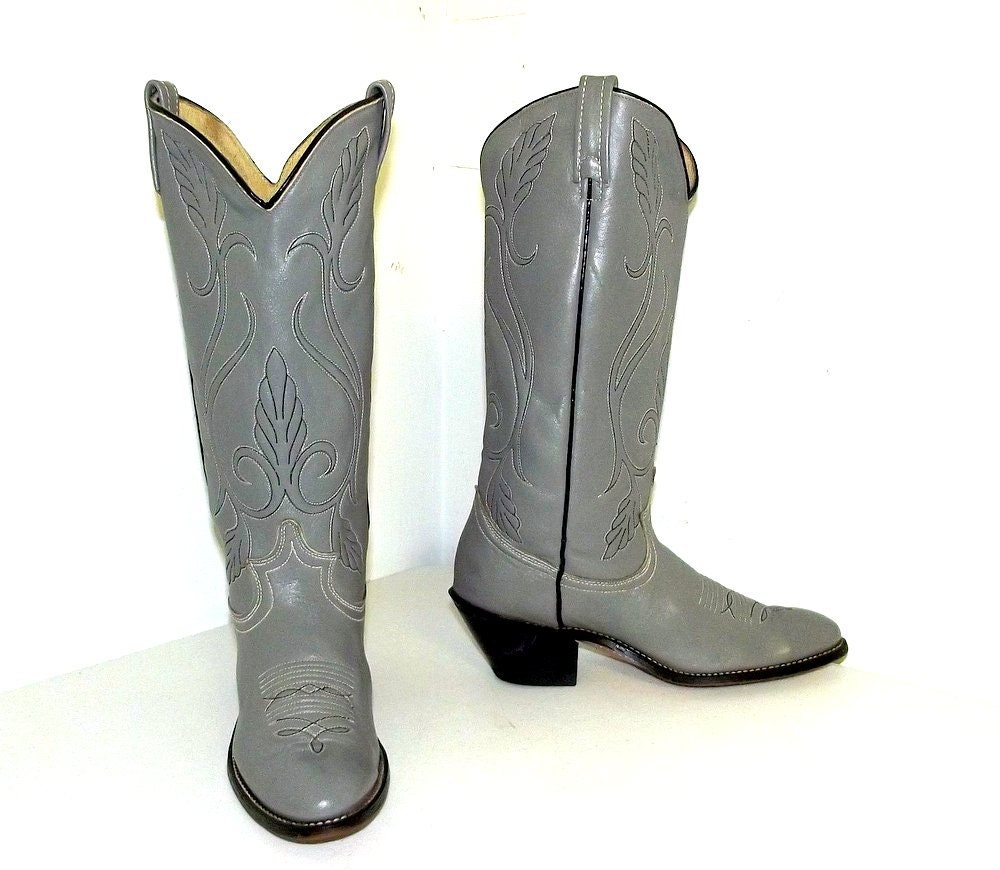 womens cowboy boots size 8 m grey with by honeyblossomstudio