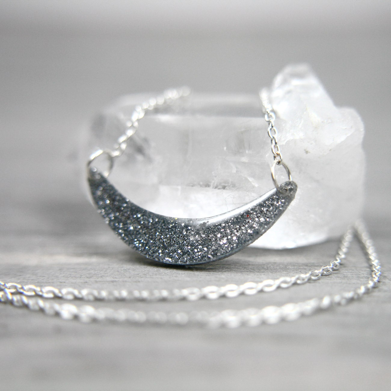 sterling necklace with sparkly silver bend - tinygalaxies
