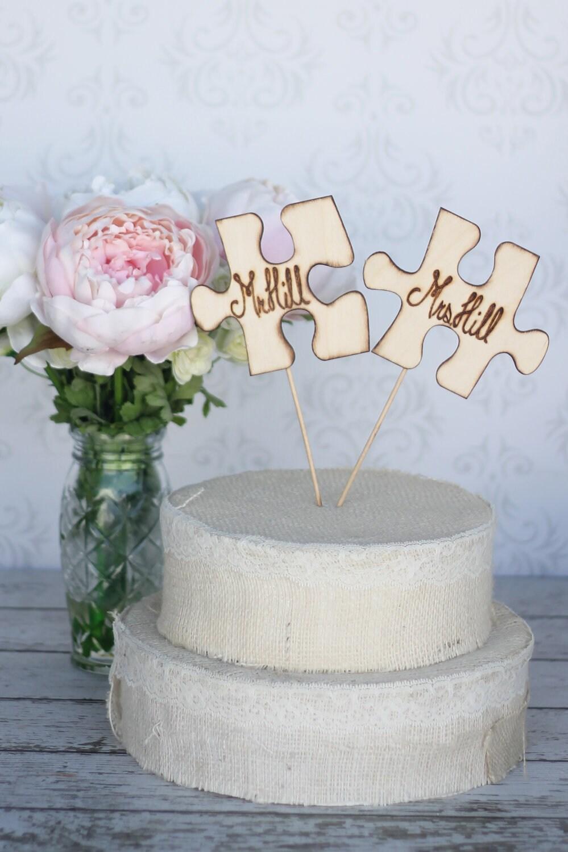 Jigsaw Piece Wedding Cake Topper