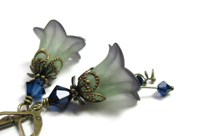 Indigo Lime, Swarovski Lucite Flower Earrings