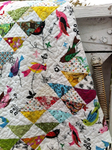 Baby Gift Quilt : Baby quilt gift shower bird by marinandcolusa