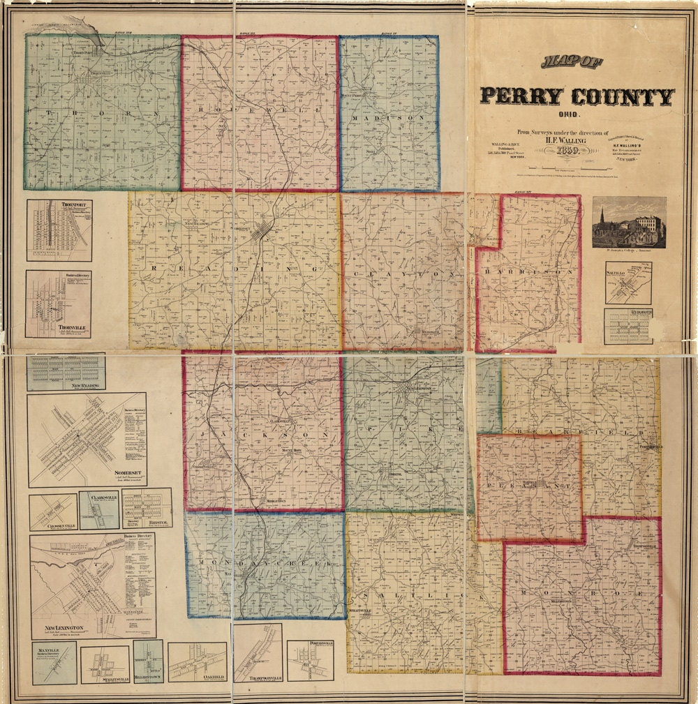 1859 Farm Line Map Of Perry County Ohio
