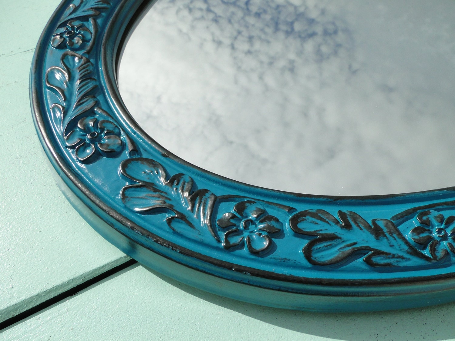 Extra large elongated ornate oval framed mirror by trwpainted for Teal framed mirror