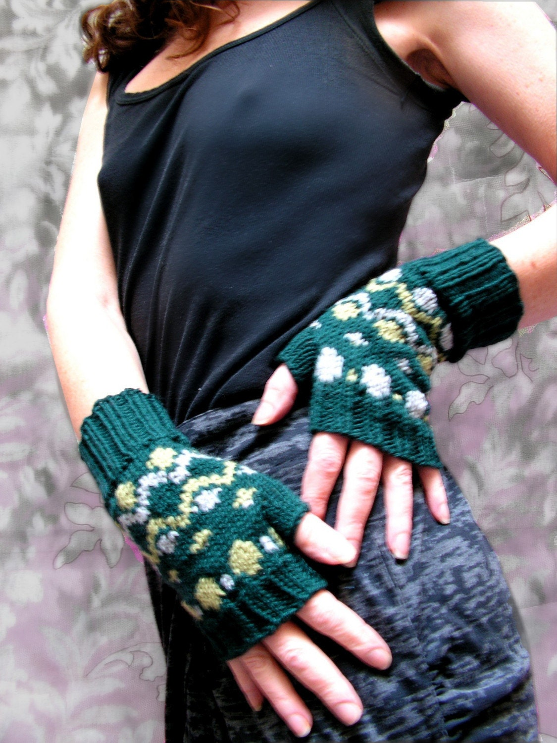 Bonnie Fair Isle Fingerless Mitts by jmaccknit on Etsy