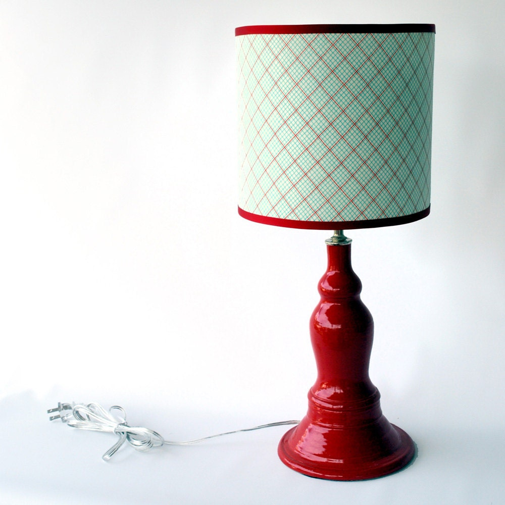 Red Ceramic lamp with aqua and red fabric shade