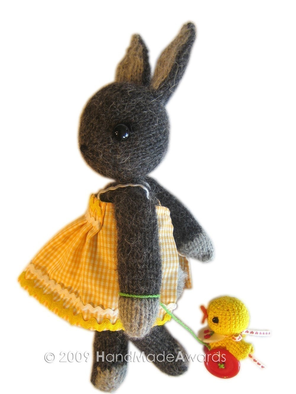 Sweetest BUNNY with her DUCK TOY pocket friend KNIT PATTERN pdf EMAIL by HandMadeAwards