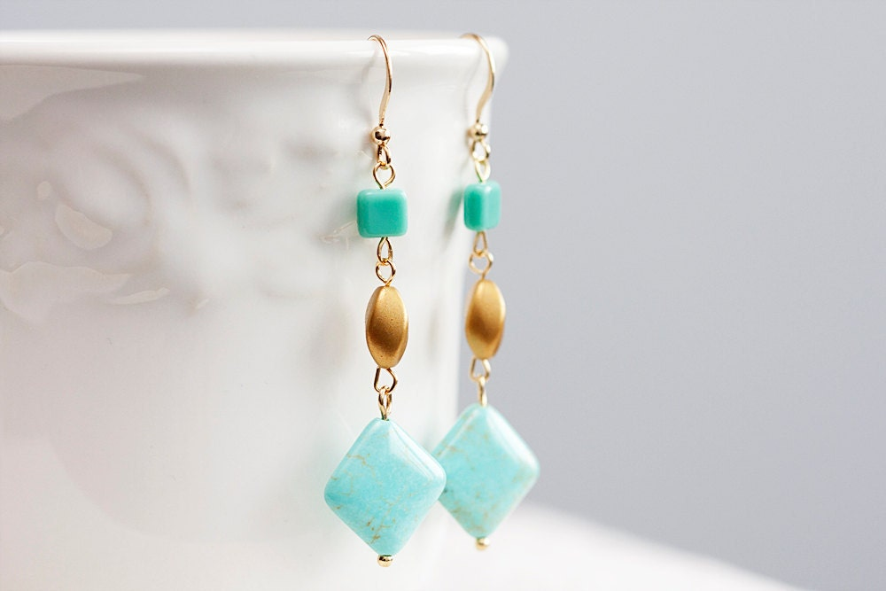 Spring Turquoise Earrings Square Pastel Beads Long By